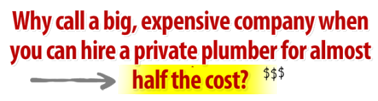 Why call a big, expensive company when you can hire a private plumber for almost half the cost?